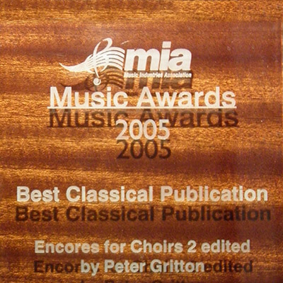Encores for Choirs 2 has Music Industries Award for Best Classical Publication